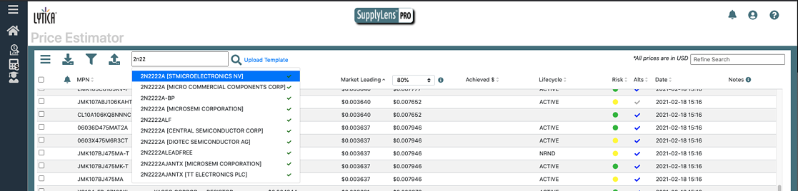 MPN Search with Pricing